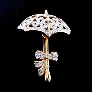 Golden Pave' Umbrella / Parasol Brooch-Vintage